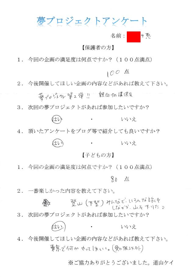 夢プロジェクトアンケート2016.8